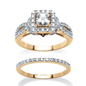 1.28 TCW Cubic Zirconia 2 Piece Ring Set