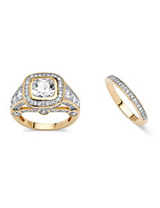 4.67 TCW Cubic Zirconia 2 Piece Ring Set by PalmBeach Jewelry