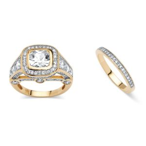 4.67 TCW Cubic Zirconia 2 Piece Ring Set