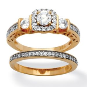 2 Piece 1.19 TCW Cubic Zirconia Ring Set