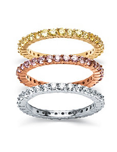 3 Piece Set Eternity Rings Tri-Tone by PalmBeach Jewelry