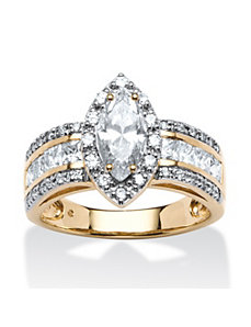 2.02 TCW Marquise-Cut Cubic Zirconia Ring by PalmBeach Jewelry