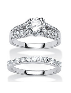 3.31 Cubic Zirconia 2 Piece Ring Set by PalmBeach Jewelry
