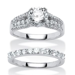 3.31 Cubic Zirconia 2 Piece Ring Set