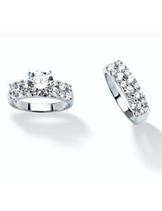 3.86 TCW Cubic Zirconia 2 Piece Ring Set by PalmBeach Jewelry