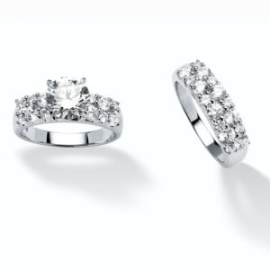 3.86 TCW Cubic Zirconia 2 Piece Ring Set