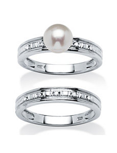 7mm Freshwater Pearl & Diamond 2 Pi by PalmBeach Jewelry
