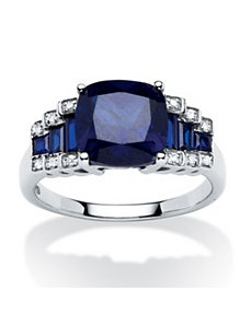 3.19 TCW Lab Created Sapphire Ring by PalmBeach Jewelry
