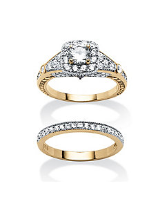 2.21 TCW Cubic Zirconia 2 Piece Ring Set by PalmBeach Jewelry
