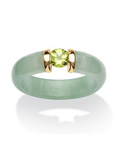 .50 TCW Jade and Peridot Ring by PalmBeach Jewelry