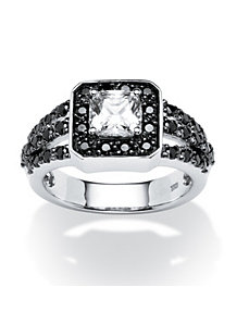 1.72 TCW B&W Cubic Zirconia Ring by PalmBeach Jewelry