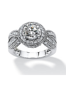 2.85 TCW CS Halo Ring by PalmBeach Jewelry