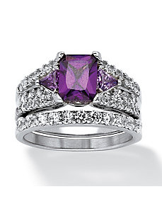 2 Piece 3.91 TCW Purple Cubic Zirconia Ring Set by PalmBeach Jewelry
