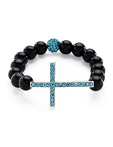 Birthstone Onyx Cross Bracelet by PalmBeach Jewelry