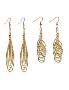 2 Pair Set of Multi-Chain Drop Earrings by PalmBeach Jewelry