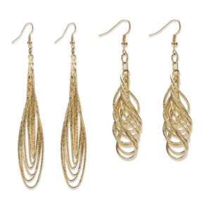 2 Pair Set of Multi-Chain Drop Earrings