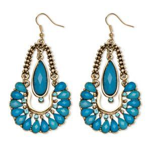 Aqua Crystal Chandelier Earrings