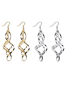Set of 2 Pairs of Twist Earrings by PalmBeach Jewelry
