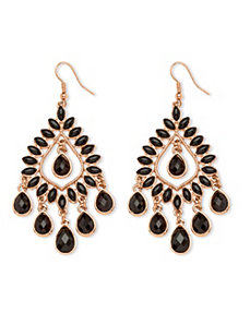 Black Crystal Chandelier Earrings by PalmBeach Jewelry