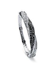 Black and White Crystal Bangle Bracelet by PalmBeach Jewelry