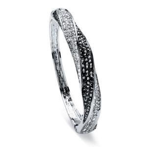 Black and White Crystal Bangle Bracelet