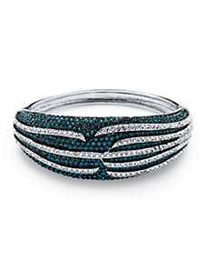 Teal Crystal Bangle Bracelet by PalmBeach Jewelry