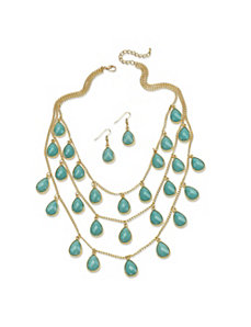 2 Piece Aqua Teardrop Jewelry Set by PalmBeach Jewelry