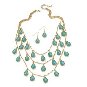 2 Piece Aqua Teardrop Jewelry Set