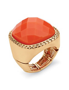Coral Cabochon Stretch Ring by PalmBeach Jewelry