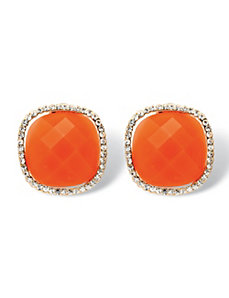 Coral Cabochon Crystal Earrings by PalmBeach Jewelry