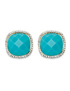 Teal Cabochon Earrings by PalmBeach Jewelry