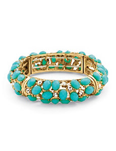 Teal Cabochon Stretch Bracelet by PalmBeach Jewelry