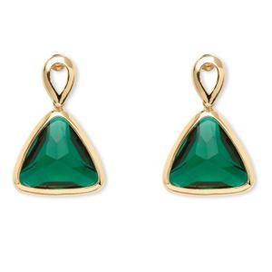 Green Crystal Triangle Earrings