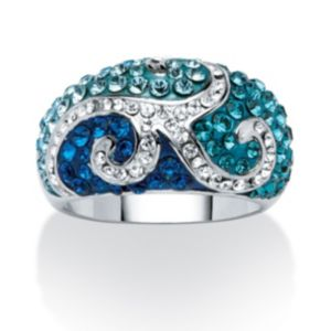 Swarovski Crystal Scroll Ring