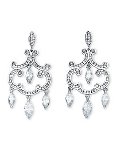 Ornate Crystal Scrollwork Earrings by PalmBeach Jewelry