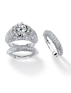 3 Piece 9.22 TCW Pave Cubic Zirconia Ring Set by PalmBeach Jewelry