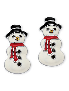 Crystal and Enamel Snowmen Earrings by PalmBeach Jewelry