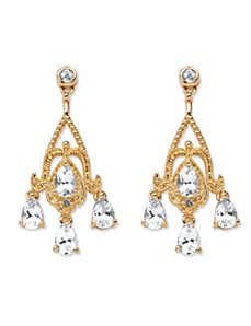 4.22 TCW White Topaz Earrings by PalmBeach Jewelry