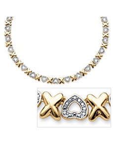 Diamond Accent X & Heart Necklace by PalmBeach Jewelry