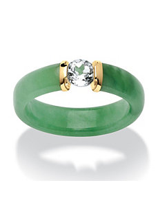 .56 TCW White Topaz and Jade Ring by PalmBeach Jewelry