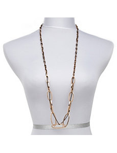 Crystal, Oval and Chain Necklace by PalmBeach Jewelry