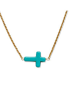 Viennese Turquoise Cross Necklace by PalmBeach Jewelry