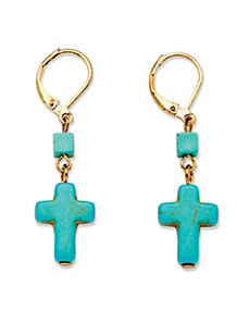 Viennese Turquoise Cross Earrings by PalmBeach Jewelry
