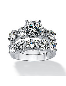 2 Piece 7.50 TCW Cubic Zirconia Ring Set by PalmBeach Jewelry