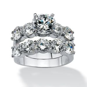 2 Piece 7.50 TCW Cubic Zirconia Ring Set