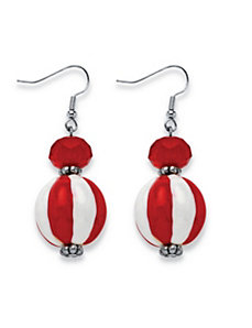 Red and White Beaded Earrings by PalmBeach Jewelry