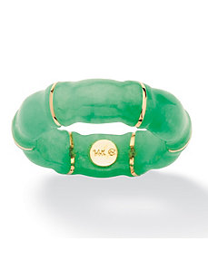 Jade Bamboo Ring in 10k Gold by PalmBeach Jewelry