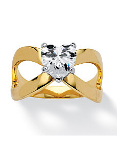 1.17 TCW Heart Cubic Zirconia Ring by PalmBeach Jewelry