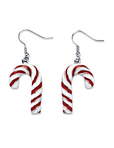 Candy Cane Drop Earrings by PalmBeach Jewelry