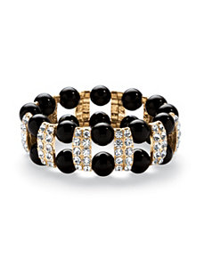 Black Beaded Bracelet by PalmBeach Jewelry